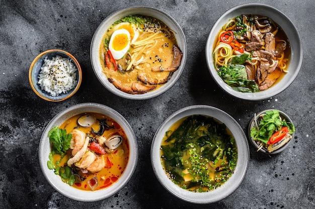Verschiedene traditionelle asiatische suppen.