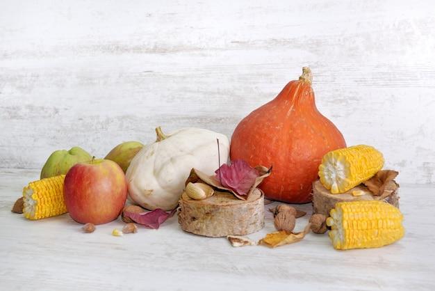 Verschiedene und bunte herbstliche gemüse und früchte auf weißem hintergrund