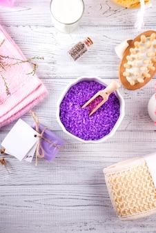 Verschiedene wellness- und beautyprodukte