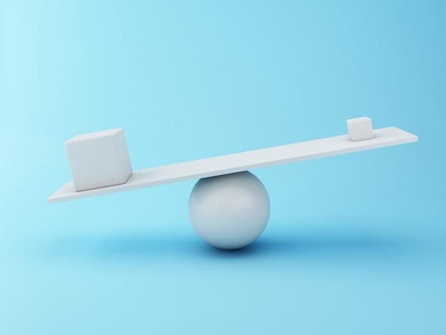 Verschiedene würfel 3d, die auf einer wippe balancieren.