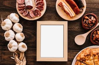 Verschiedenes Essen um Rahmen
