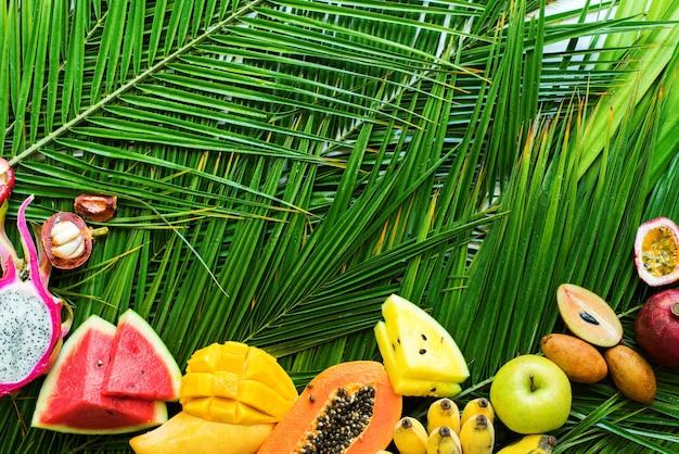 Verschiedenes tropisches frucht-rohes diät-konzept essend
