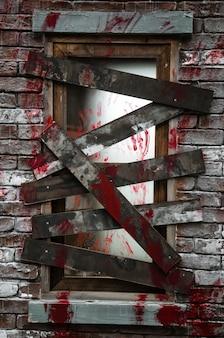 Verschlossenes fenster mit blutigen handabdrücken