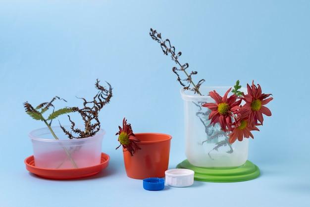 Verschmutzungskonzept mit erstickten pflanzen