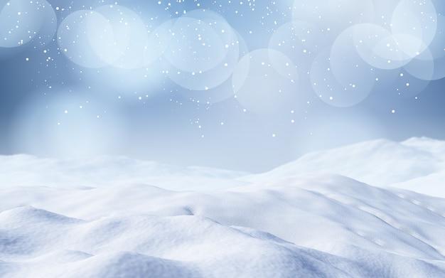 Verschneite landschaft des weihnachten 3d
