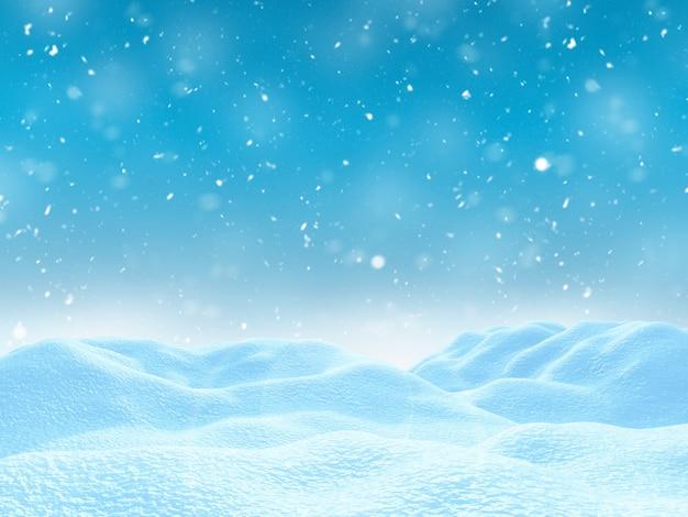 Verschneite landschaft des winters 3d