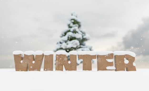 Verschneites holzschild mit dem wort winter