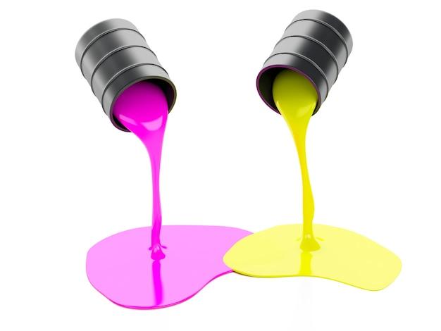 Verschüttete farben-dosen auf weißem hintergrund
