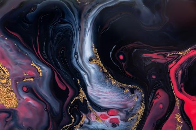 Verschüttete schwarze, rote, blaue und goldene acrylfarbe. flüssiges marmormuster
