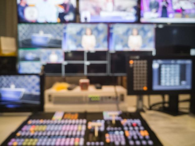 Verschwommener bild-video-schalter von television broadcast, arbeitet mit video- und audiomixer