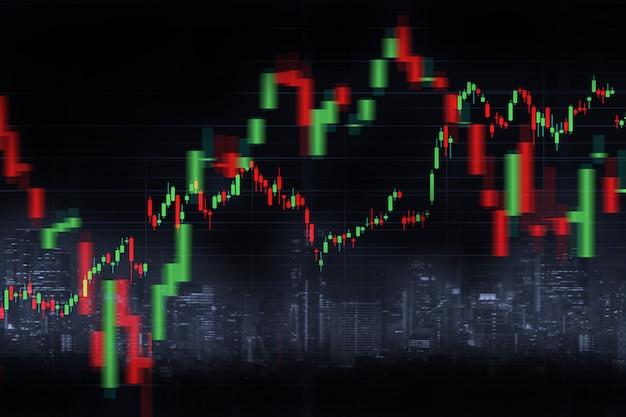 Verschwommener skyline-hintergrund der stadt und finanzdiagramm mit kerzenleuchter-diagramm in der börse auf schwarzer farbe