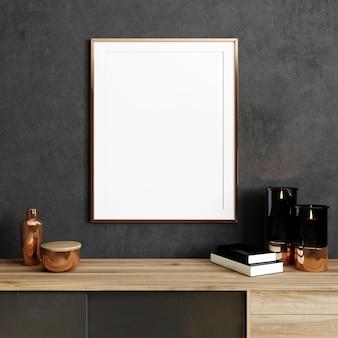 Verspotten sie einen leeren posterrahmen in schwarzem, modernem interieur mit stilvoller dekoration, rahmen in luxuriösem und zeitgenössischem interieur, 3d-rendering