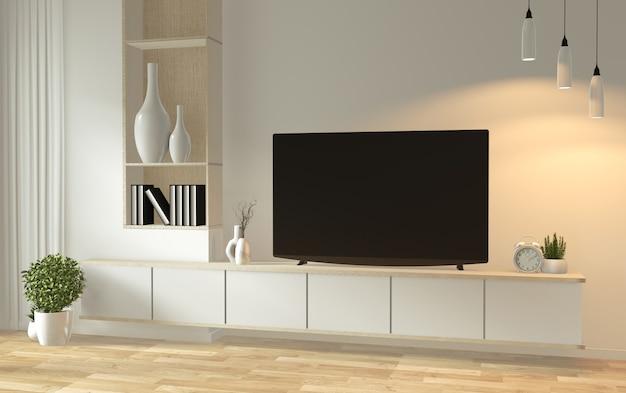 Verspotten sie herauf fernsehkabinett in den japanischen minimalen designen des modernen leeren raumes des zens, wiedergabe 3d