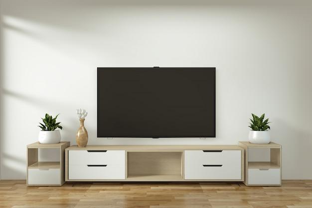 Verspotten sie herauf fernsehkabinett in der japanischen minimalen art des modernen leeren raumes des zens
