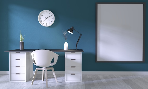 Verspotten sie herauf plakatbüro mit weißem bequemem design und dekoration auf dunkelblauem raum und weißem bretterboden