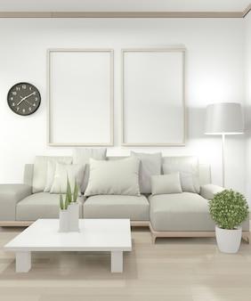 Verspotten sie herauf plakatrahmen im wohnzimmer mit gelben sofa- und dekorationsanlagen auf boden