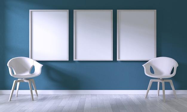 Verspotten sie herauf plakatrahmen mit weißem stuhl auf dunkelblauer wand des raumes auf weißem bretterboden