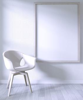 Verspotten sie herauf plakatrahmen mit weißem stuhl auf weißer wand des raumes auf weißem bretterboden