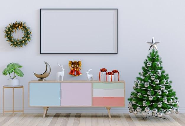 Verspotten sie herauf plakatrahmen weihnachtsinnenwohnzimmer. 3d-rendering