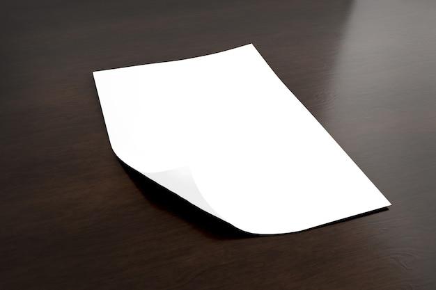 Verspotten sie oben von einem blatt papier lokalisiert mit schatten - wiedergabe 3d