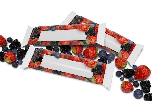 Verspotten sie oben von einer müsliriegelverpackung auf weiß mit roten früchten - wiedergabe 3d