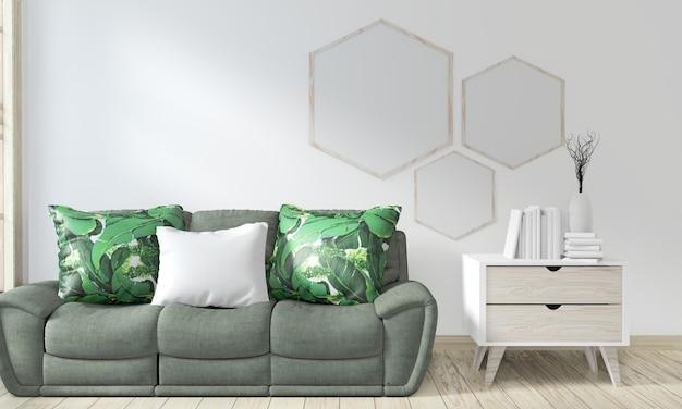 Verspotten sie plakatrahmenraum mit sofagrün und dekorationspflanzen
