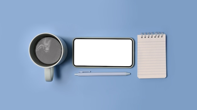 Verspotten sie smartphone mit leerem bildschirm, kaffeetasse und notizblock auf blauem hintergrund.