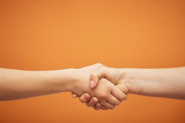 Verständnis und zustimmung, ein händedruck auf einer orange.
