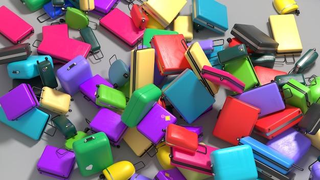 Verstreute koffer in verschiedenen farben