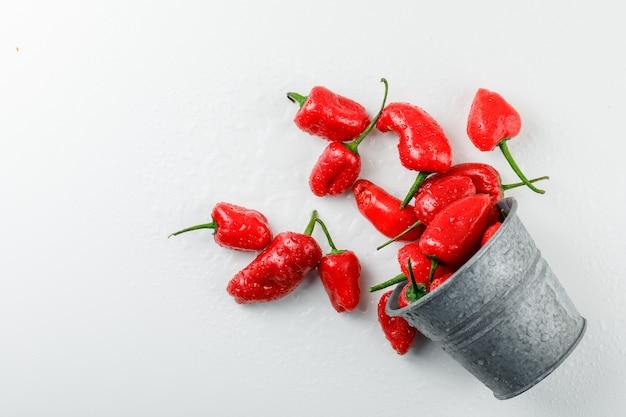 Verstreute rote paprika aus einem mini-eimer an einer weißen wand. draufsicht.