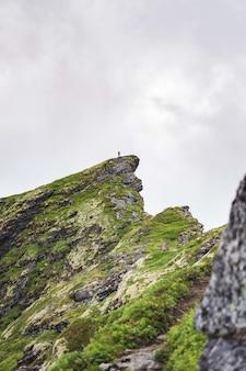 Vertikal eines grünen felsens in der nähe des dorfes reinebringen auf den lofoten