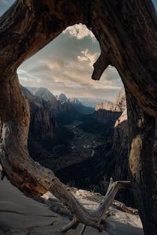 Vertikale aufnahme der klippe unter dem bewölkten himmel hinter dem kreisförmigen baumstamm