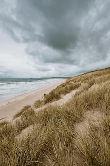 Vertikale aufnahme des grasbedeckten strandes durch den ruhigen ozean, der in cornwall, england gefangen genommen wird