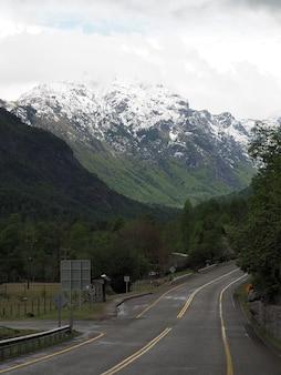 Vertikale aufnahme einer straße und baumbedeckter berge mit schneebedeckten gipfeln