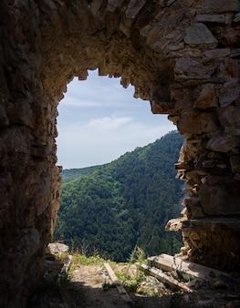 Vertikale aufnahme einer wandöffnung mit der schönen ansicht eines baumwaldes im hintergrund