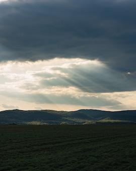 Vertikale aufnahme eines grünen feldes in der landschaft unter dem bewölkten sonnenuntergangshimmel