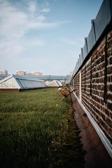 Vertikale aufnahme eines parks mit betongebäuden in roubaix, frankreich