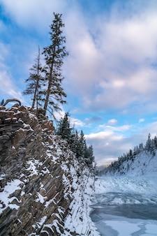 Vertikale aufnahme eines schneebedeckten feldes unter dem klaren himmel