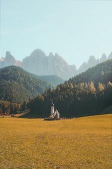 Vertikale aufnahme eines schönen gebäudes auf einem trockenen grasfeld, umgeben von bewaldeten bergen