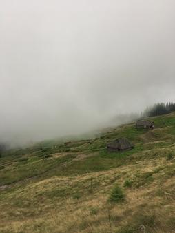 Vertikale aufnahme eines steilen schönen hügels mit kleinen holzhäusern darauf, die mit nebel bedeckt sind