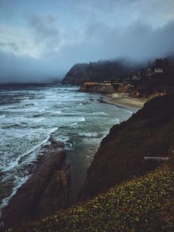Vertikale aufnahme von gelben blumen auf einem hügel nahe einem strand mit berg und nebel im hintergrund