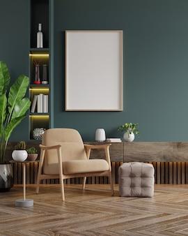 Vertikale rahmen auf leerer dunkelgrüner wand im wohnzimmerinnenraum mit samtigem sessel. 3d-darstellung