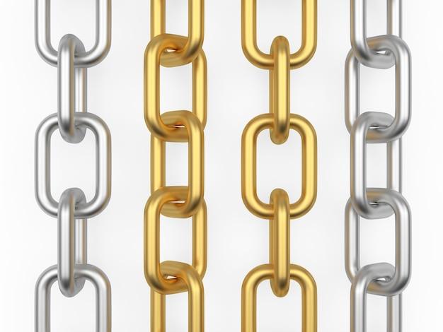 Vertikale silber- und goldketten