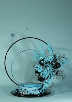 Vertikale szene der wiedergabe 3d mit rundem marmorpodium und abstraktem hintergrund der blauen blume geometrische form in den pastellfarben
