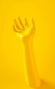 Vertikale wiedergabe 3d der gelben hand auf gelbem hintergrund