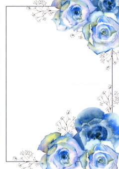 Vertikaler rahmen mit aquarellblauen rosen