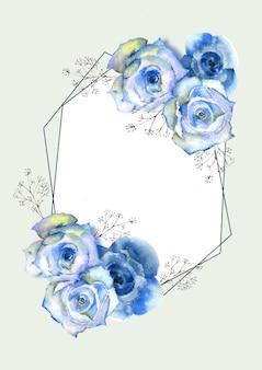 Vertikaler rahmen mit blauen aquarellrosen