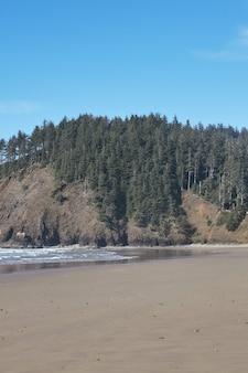 Vertikaler schuss einer felsformation am ozeanufer nahe cannon beach, oregon, usa