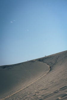 Vertikaler schuss einer sanddüne mit leuten, die in der ferne gehen und einen klaren blauen himmel