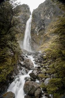 Vertikales bild des devils punchbowl wasserfalls, umgeben von grün in neuseeland